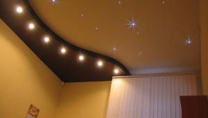 двухуровневый недорогой натяжной потолок