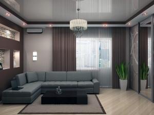 недорогой натяжной потолок для гостиной